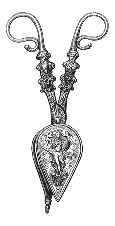 smother: Candle Snuffer, used during the 16th century, displayed at the Louvre Museum in Paris, France, vintage engraved illustration. Le Magasin Pittoresque - Larive and Fleury - 1874