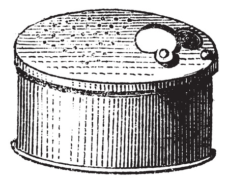 Fig. 65. Fishing gear, Cricket box, vintage engraved illustration. Magasin Pittoresque 1874.
