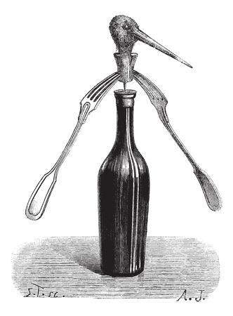 magasin pittoresque: Fig 1. Revolving forks magic trick, vintage engraved illustration. Magasin Pittoresque  1874. Illustration