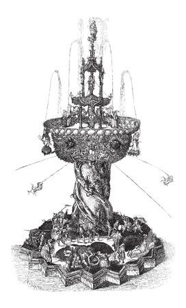 噴水、ビンテージの刻まれた図オーストリア、ウィーンの博物館で発見します。ル マガシンドス Pittoresque - Larive、フルーリ - 1874