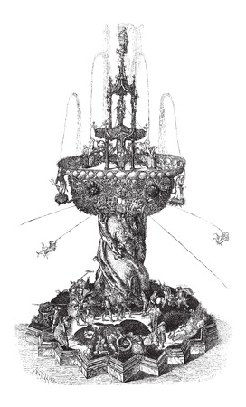 Water Fountain, found at the Museum of Vienna, in Austria, vintage engraved illustration. Le Magasin Pittoresque - Larive and Fleury - 1874
