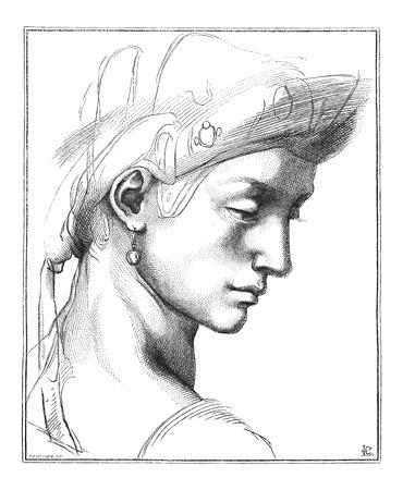 florence italy: Testa Comic da Michelangelo, alla Galleria degli Uffizi, a Firenze, l'Italia, vintage illustrazione inciso. Le Magasin Pittoresque - Larive e Fleury - 1874