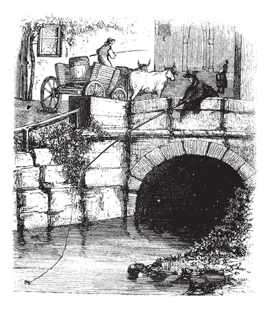 fly fisherman: Fig. 76. Fly fishing from a bridge, vintage engraved illustration. Magasin Pittoresque 1875.