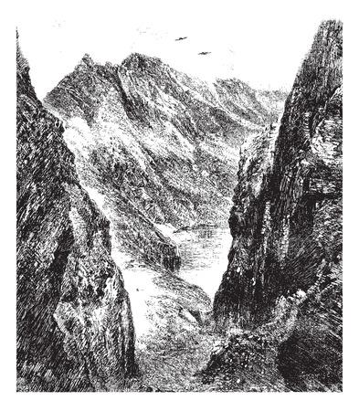 De haven van Venasque, vintage gegraveerde illustratie. Magasin Pittoresque 1875. Stock Illustratie