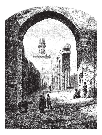 dilapidated: Ruins of the Mosque of Hakim-Biamr-Allah, Cairo, vintage engraved illustration. Magasin Pittoresque 1875. Illustration