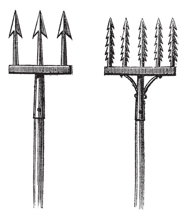 fisheries: Fig. 88. Spears. Fig. 89. Fisheries without the fisherman, vintage engraved illustration. Magasin Pittoresque 1875.