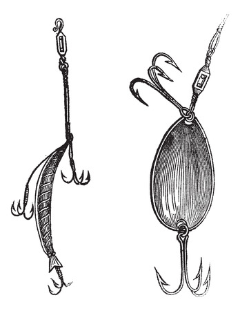 fishing lure: Fishing Lures, Fig. 86. Plug, Fig. 87. Spoon, vintage engraved illustration. Magasin Pittoresque 1874.