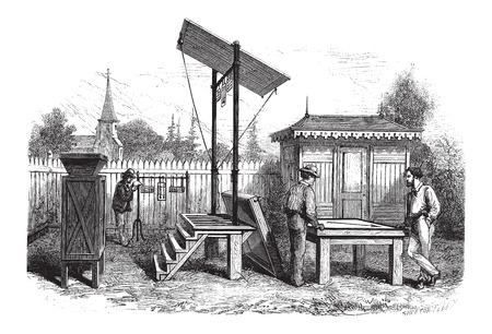 Meteorologische Observatorium, vintage gegraveerde illustratie. Le Magasin Pittoresque - Larive en Fleury - 1874