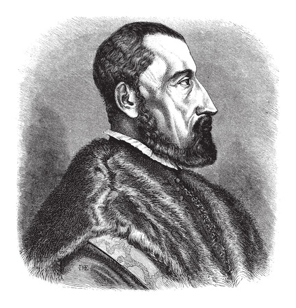 herbalist: 16th century (1557) engraving of Ogier Ghiselin de Busbecq, a Flemish Writer, Herbalist and Austrian Diplomat, vintage engraved illustration. Le Magasin Pittoresque - Larive and Fleury - 1874