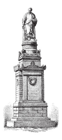 voltaic: Monument of Alessandro Volta, in Como, Italy, vintage engraved illustration. Le Magasin Pittoresque - Larive and Fleury - 1874 Illustration