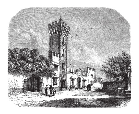 french culture: Tower at Panciatichi Palace, in Tuscany, Italy, vintage engraved illustration. Le Magasin Pittoresque - Larive and Fleury - 1874