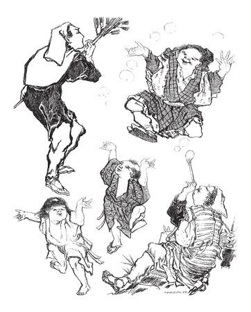 naturalist: The Soap Bubbles - Japanese Caricature, at the La Rochelle Museum in La Rochelle, France, vintage engraved illustration. Le Magasin Pittoresque - Larive and Fleury - 1874 Illustration