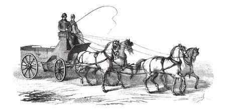 carreta madera: 4 ruedas de carro tirado por 4 caballos, vintage grabado ilustración. Le Magasin Pittoresque - Larive y Fleury - 1874