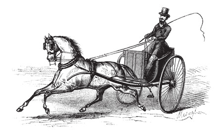 carreta madera: 2 ruedas carrito tirado por un caballo individual, cosecha ilustración grabada. Le Magasin Pittoresque - Larive y Fleury - 1874