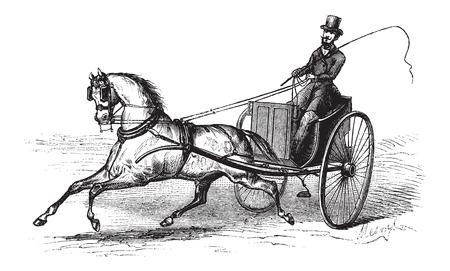 2 wielen winkelwagen getrokken door een enkel paard, vintage gegraveerde illustratie. Le Magasin Pittoresque - Larive en Fleury - 1874