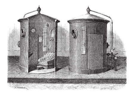compressed: Pneumatic device for compressed air baths, vintage engraved illustration. Le Magasin Pittoresque - Larive and Fleury - 1874 Illustration