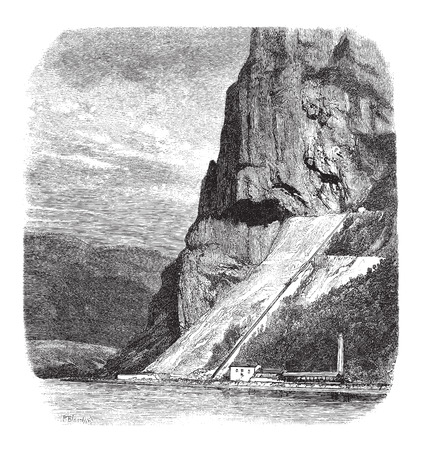 old mining building: External View of the Marble Quarries of Echaillon in Isere, France, vintage engraved illustration. Le Magasin Pittoresque - Larive and Fleury - 1874