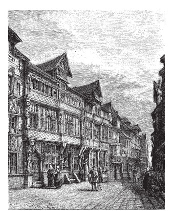 magasin pittoresque: Old wooden houses in Lisieux (sixteenth century). - Drawing Catenacci, vintage engraved illustration. Magasin Pittoresque 1874 Illustration