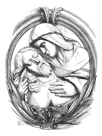 vierge marie: Un pieta est l'Hospice de Gênes, un médaillon attribut Michelangelo. Dessin Chevignard, illustration vintage gravé. Magasin Pittoresque 1874.