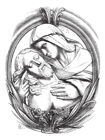 A pieta is the Hospice of Genoa, a medallion attribute Michelangelo. Drawing Chevignard, vintage engraved illustration. Magasin Pittoresque 1874. Vettoriali