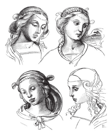 creative arts: Pen drawings by Raphael, at the Academy of Fine Arts of Venice. - Drawing Chevignard, vintage engraved illustration. Magasin Pittoresque 1874.