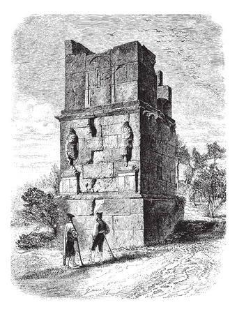 plinth: The Scipios Tower, near Tarragona. - Drawing of Gaudry, of after a photograph of J. Lawrence, vintage engraved illustration. Magasin Pittoresque 1874.
