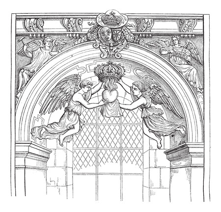 Jesuit Church, rue Saint-Antoine. - Angels of money with the heart of Louis XIII, after an engraving published in the Archives of scientific missions, vintage engraved illustration. Magasin Pittoresque 1874. Vector