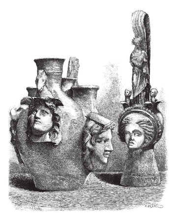 magasin pittoresque: Museum of Louvre. - Vases has reliefs of southern Italy. - Drawing Sellier, vintage engraved illustration. Magasin Pittoresque 1874. Illustration
