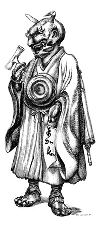 magasin pittoresque: Bronze statuette representing the devil Japanese. Drawing Feart, vintage engraved illustration. Magasin Pittoresque 1875.