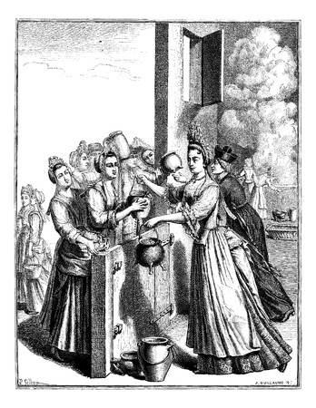 soup pot: Relief soup, in Paris, during the famine of 1709, vintage engraved illustration. Magasin Pittoresque 1875.