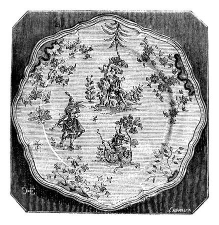 Plaat van Moustiers, een grotesk decor, vintage gegraveerde illustratie. Magasin Pittoresque 1875.