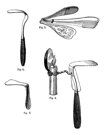 Fig 1. Tongue depressor fixed, Fig.2 Tongue depressor articulates, Fig 3. Tongue depressor articulate, Ricord, Fig 4. Tongue depressor articulates with reflector, vintage engraved illustration. Magasin Pittoresque 1875.