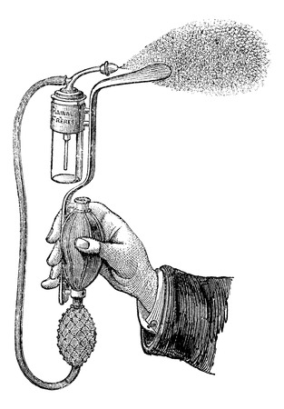 sprayer: Tongue depressor sprayer, vintage engraved illustration. Magasin Pittoresque 1875. Illustration