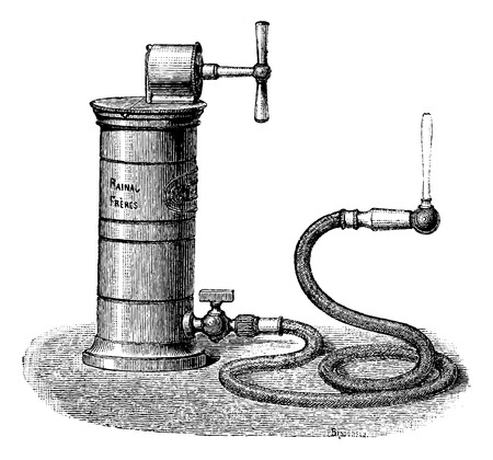 dr: Dr. Aiguisier Wound Irrigator, vintage engraved illustration. Usual Medicine Dictionary by Dr Labarthe - 1885