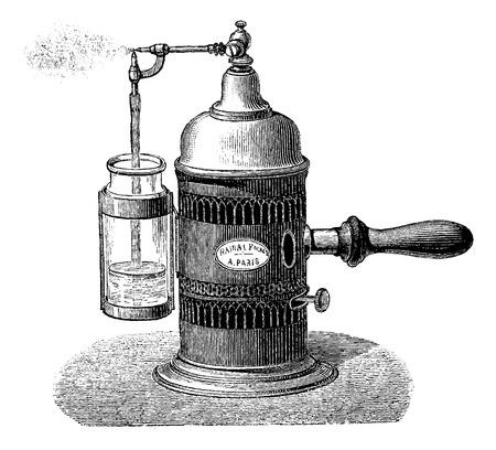 噴霧器、ヴィンテージの図を刻まれています。博士 Labarthe - 1885年によって通常医学辞書  イラスト・ベクター素材