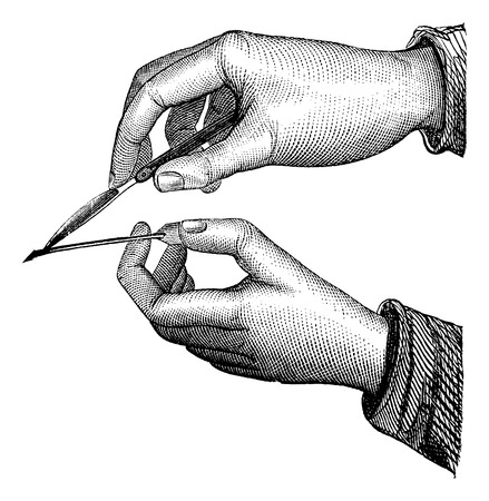 old hand: Position of the knife and grooved in the simple incision from within outwards, vintage engraved illustration. Magasin Pittoresque 1875.