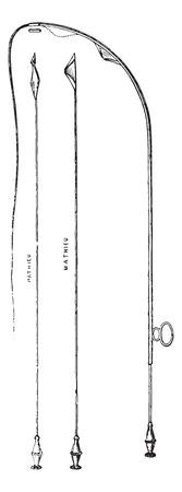 Urethrotomy of Maisonneuve for internal urethrotomy, vintage engraved illustration. Usual Medicine Dictionary by Dr Labarthe - 1885.