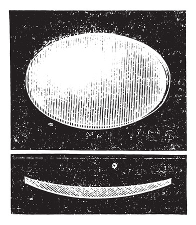 convex: Biconvex lens, vintage engraved illustration. Usual Medicine Dictionary by Dr Labarthe - 1885.