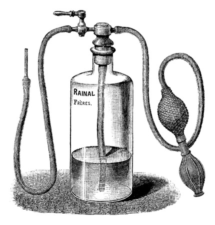 irrigator: Wound Irrigator, vintage engraved illustration. Usual Medicine Dictionary by Dr Labarthe - 1885 Illustration