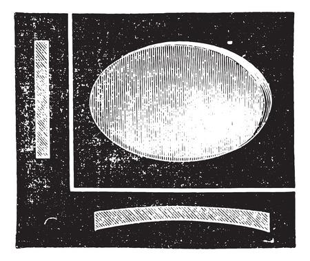 Concave cylindrical lens, vintage engraved illustration. Usual Medicine Dictionary by Dr Labarthe - 1885. Illusztráció