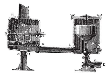 切断デバイス受容体と洪水吐き、ヴィンテージの刻まれた図。博士 Labarthe - 1885年によって通常医学辞書。