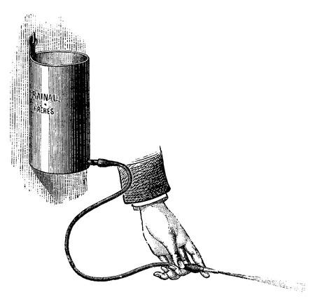 Bladder Irrigator, vintage engraved illustration. Usual Medicine Dictionary by Dr Labarthe - 1885