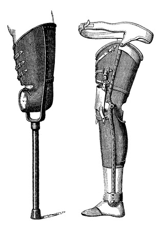 Artificial Legs Non-Bendable at the Knee (left) and Bendable at the Knee (right), vintage engraved illustration. Usual Medicine Dictionary by Dr Labarthe - 1885 Illustration