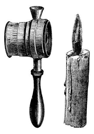 dr: Lactoscope, held against candlelight, vintage engraved illustration. Usual Medicine Dictionary by Dr Labarthe - 1885