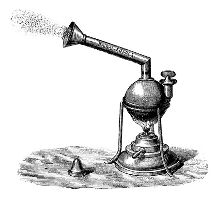 fumigador: Nebulizador, cosecha ilustraci�n grabada. Diccionario Usual Medicina por el Dr. Labarthe - 1885