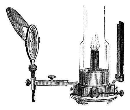 gas lamp: Portable Laryngoscope, illuminated by direct light from a gas lamp, vintage engraved illustration. Usual Medicine Dictionary by Dr Labarthe - 1885