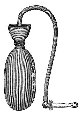 an injector: Injector pocket, vintage engraved illustration. Magasin Pittoresque 1875. Illustration