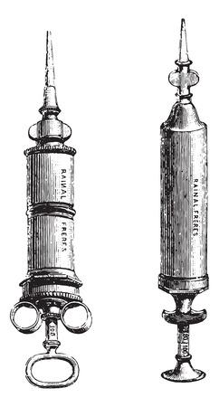 usual: Fig.1155. Syringe pure tin or nickel, Fig. 1156. Hard rubber syringe, vintage engraved illustration. Usual Medicine Dictionary by Dr Labarthe - 1885.