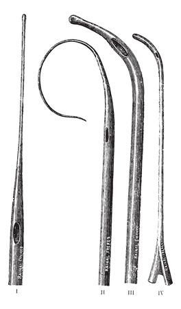 Probes, vintage engraved illustration. Usual Medicine Dictionary by Dr Labarthe - 1885.