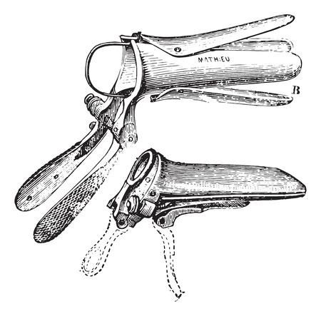 Duckbill Speculum, vintage engraved illustration. Usual Medicine Dictionary by Dr Labarthe - 1885. Illustration
